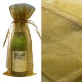 10x Gold Bottle & Wine Organza Favor Gift Bags 6.5x15 inch ($0.94 each)