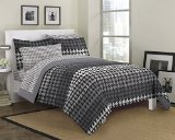 Loft Style Houndstooth Ultra Soft Microfiber Bedding Comforter Set, Gray, Twin