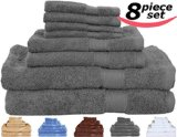 Utopia Towels Premium 8 Piece Bath Towel Set - Gray