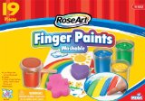 RoseArt Washable Finger Paints Set, Includes Paint, Paper, Sponges and Wood Spatula, Packaging May Vary (CYM28)