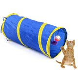 Foldable Pet Tunnel Cat Kitten Gog Ferrets Rabbits Crinkle Tunnel With Ring Bell Toy Collapsible Colorful 55cm