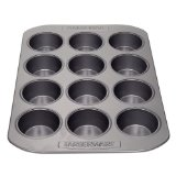 Farberware Nonstick Bakeware 12-Cup Muffin Pan, Gray