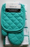 Teal Island Kitchen Towel Set 5 Piece- Pot Holders, Oven Mitt & 2 Terry Kitchen Towels