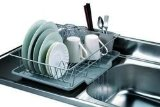 Home Basics 3-Piece Dish Drainer Set, Silver