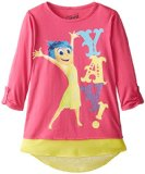 Disney Big Girls' Inside Out Joy Yay Chiffon Hangdown Hi-Low Top, Hot Pink/Yellow, Small