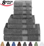 Utopia Towels 8-Piece Value 100% Cotton Bath Towel Set, Includes 2 Bath towels, 2 Hand towels, 4 Washcloths - Gray