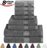 Utopia Towels 8-Piece Value 100% Cotton Bath Towel Set, Includes 2 Bath towels, 2 Hand towels, 4 Washcloths - Gray