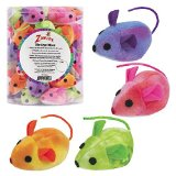 Zanies Tie-Dye Mice Cat Toy Canister, 5-1/4-Inch, 40-Pack