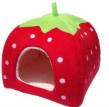 Leegoal Strawberry Small Cotton Soft Dog Cat Pet Bed House (Red, XL)