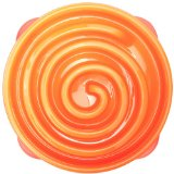 Outward Hound Kyjen  51001 Fun Feeder Slow Feed Interactive Bloat Stop Dog Bowl, Large, Orange