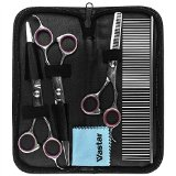 Vastar Curved Scissor Set - Perfect for Pet Grooming, Used for Dog, Cat, Durable Stainless Steel, Provided with Pouch and Steel Grooming Comb