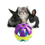 "Colorful Plastic Pet Toy Ball with Bell, Dog Cat Rabbit Bauble, 2.93""x2.93""x2.93"""