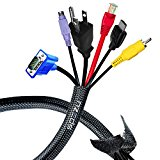 Cable Management Sleeve - Velcro Cord Organizer to Wrap & Protect Wires - Two 20 Inches Wire Organizer + Extra Velcro Cable Ties