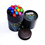 Brilli Dry Erase Markers (Bullet Tip) with FREE MAGNETIC ERASER - Set of 16 x Premium Eco Whiteboard Pens - Assorted Colors - EXTRA Black, Blue & Red - Non-Toxic & Low Odor - GIFT FOR TEACHERS
