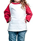 Ola Mari Unisex Kids Raglan Baseball T Shirt Top, XS, White/Red
