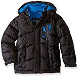 U.S. Polo Assn. Boys' Little Boys' Hooded Bubble Jacket, Black/Blue Logo, 7