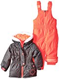 Rugged Bear Baby Girls' Flower Snowsuit, Ebony, 12 Months