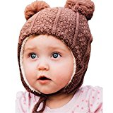 Warm cute kid's fall winter earflap beanie hat (L: 2-6 Years, Brown Bear)