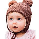 Warm cute kid's fall winter earflap beanie hat (L: 2-6 Years, Brown Bear)