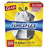 Glad 70427 ForceFlex Tall Kitchen Drawstring Bags, 13 gal, .90mil, 24x25 1/8 White (Box of 100)