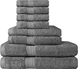 Premium 8 Piece Towel Set (Grey); 2 Bath Towels, 2 Hand Towels & 4 Washcloths - Cotton - Machine Washable, Hotel Quality, Super Soft and Highly Absorbent by Utopia Towels