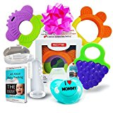 Baby Teething Toys Set of 5: 3 Baby Fruit Teethers + Baby Pacifier + Baby Toothbrush/Fingertip Massager & Case | Best Relief for Sore Gums | Freezer Safe Dishwasher Safe | SCME Baby Teether