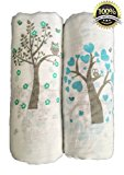 "Muslin Swaddle Blankets 2 Pack - Seben Baby - 47""x 47"" - 100% Cotton - Tree Bird and Owl - Unisex for Boys or Girls - Lifetime Guarantee"