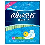 Always Maxi Long Super Pads, With Wings, 60 Count