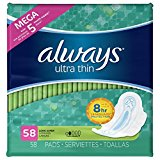 Always Ultra Thin Super Pads, With Wings, 58 Count