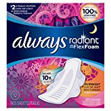 Always Radiant Overnight with wings scented Pads