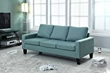 "Home Life 3 Person Contemporary Upholstered Linen Sofa, 77"" Wide, Light Green"