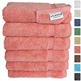 ALBAKOS Turkish Cotton Hand Towel, 16-by-30-Inch (Set of 6) - Salmon