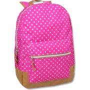 18 Inch Pink Polka Dot Backpack With Vinyl Bottom