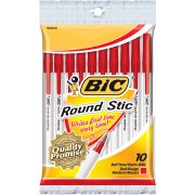 Bic Round Stic Ball Pens Medium Point 10 Count - Red
