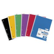 Mead Spiral Bound Notebook, Perforated, Legal Rule, 10 1/2 x 7 1/2, White, 70 Sheets
