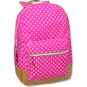 18 Inch Pink Polka Dot Backpack With Vinyl Bottom