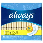 Always Maxi Size 1 Regular Pads Without Wings, 48 Count