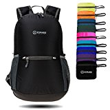 ZOMAKE Ultra Lightweight Packable Backpack Water Resistant Hiking Daypack,Small Backpack Handy Foldable Camping Outdoor Backpack Little Bag (Black)