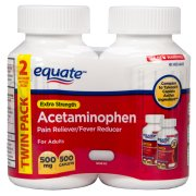 Equate Extra-Strength Acetaminophen Pain Reliever/Fever Reducer, 500mg, 250 ct , 2 pk