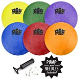 "Set of 6 8.5"" Playground Balls with Hand Pump and Needles by Crown Sporting Goods"