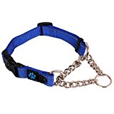 Max and Neo Stainless Steel Chain Martingale Collar - We Donate a Collar to a Dog Rescue for Every Collar Sold (LARGE, BLUE)