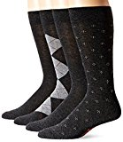 Dockers Men's 4 Pack Argyle Dress, Charcoal Assorted, Sock Size:10-13/Shoe Size: 6-12