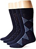 Dockers Men's 4 Pack Argyle Dress, Navy, Sock Size:10-13/Shoe Size: 6-12