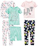 Simple Joys by Carter's Toddler Girls' 6-Piece Snug Fit Cotton Pajamas, Donuts/Zebra/Dots, 5T