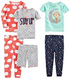 Simple Joys by Carter's Toddler Girls' 6-Piece Snug Fit Cotton Pajamas, Sheep/Dot/Monkey, 4T