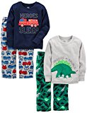 Simple Joys by Carter's Boys' Toddler 4-Piece Pajama Set, Dino/Firetruck, 4T