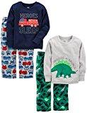 Simple Joys by Carter's Boys' Toddler 4-Piece Pajama Set, Dino/Firetruck, 4T