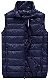 Wantdo Men's Packable Ultra Light Casual Down Bubble Vest, Navy, L