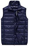 Wantdo Men's Packable Ultra Light Casual Down Bubble Vest, Navy, L