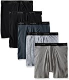 Hanes Men's 5-Pack Ultimate FreshIQ Boxer with ComfortFlex Waistband Brief,Black/Grey,Large